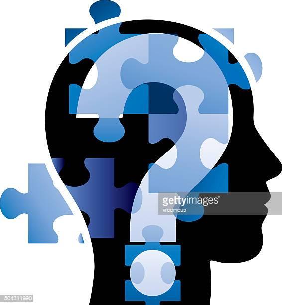 stockillustraties, clipart, cartoons en iconen met head puzzle - ziekte van alzheimer