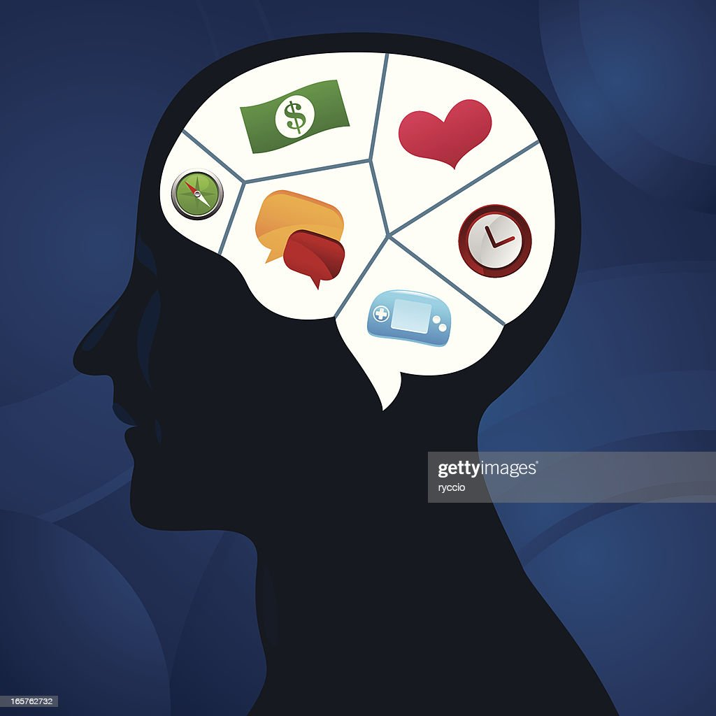 Head section, with icons : stock illustration