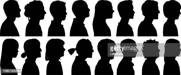 head silhouettes - men stock illustrations