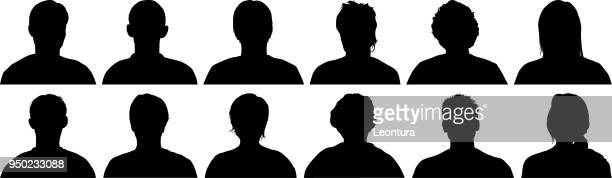 head silhouettes - plain background stock illustrations