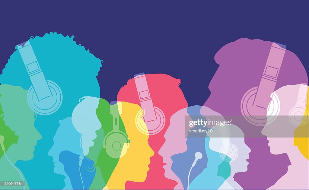 Head silhouettes with Headphones