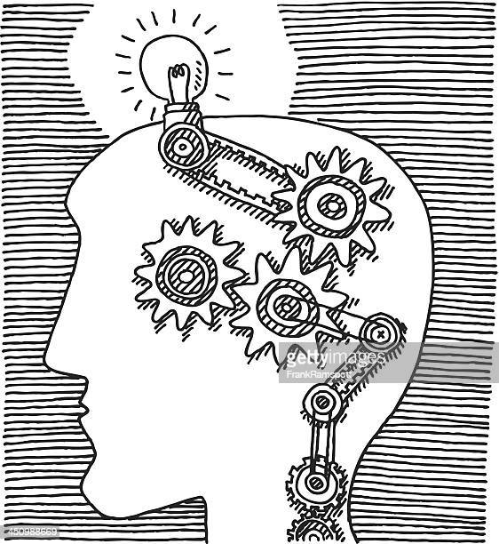 Kopf denken Zahnräder Idee Zeichnung