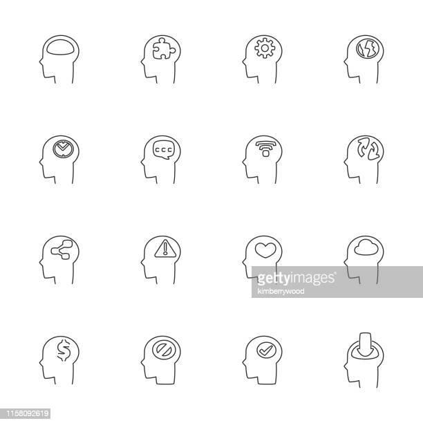 ilustraciones, imágenes clip art, dibujos animados e iconos de stock de cabeza - autismo