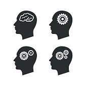 Head with brain icon. Male human symbols