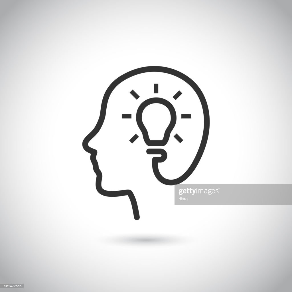 Head with bulb icon on gray background.