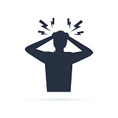 Headache glyph icon. Silhouette symbol. Anger and irritation. Frustration. Nervous tension. Aggression. Occupational