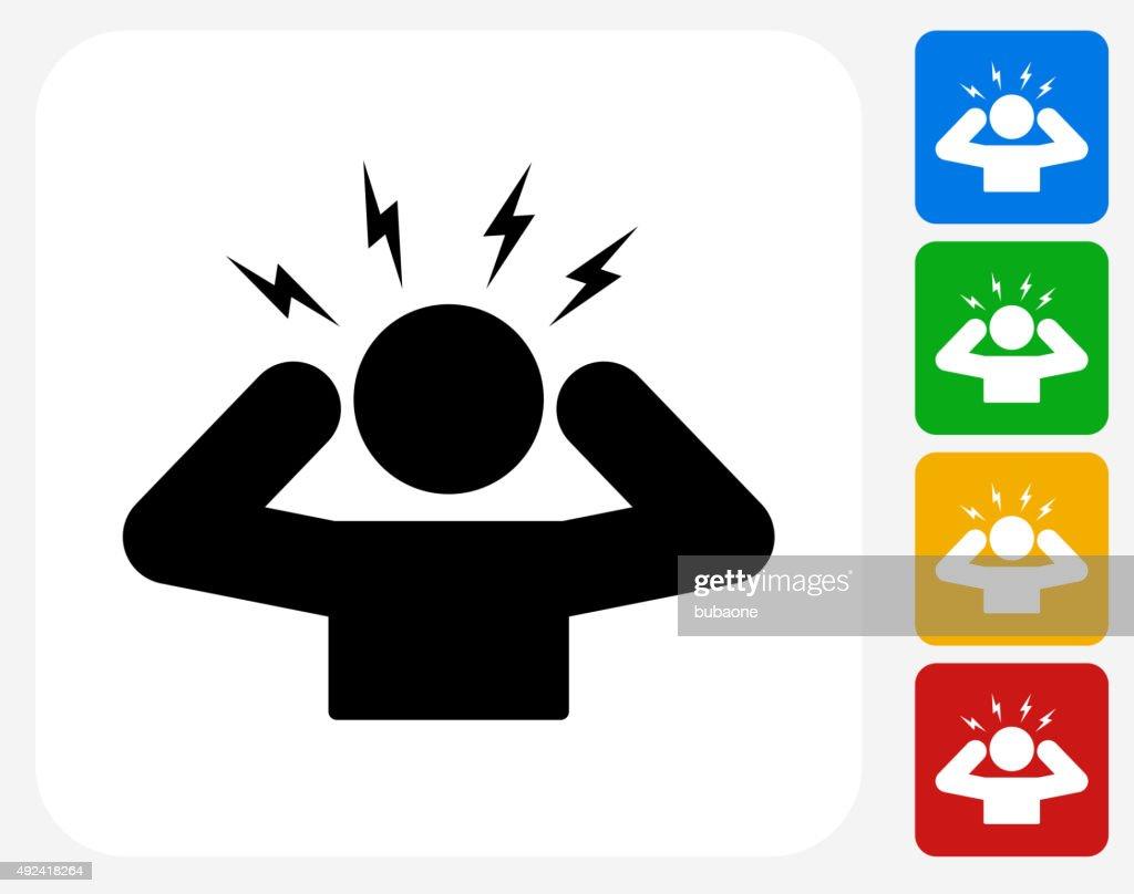 Headache Icon Flat Graphic Design