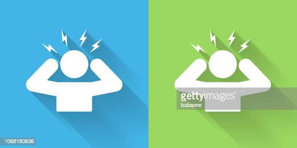 ilustraciones, imágenes clip art, dibujos animados e iconos de stock de icono de dolor de cabeza con larga sombra - dolor de cabeza