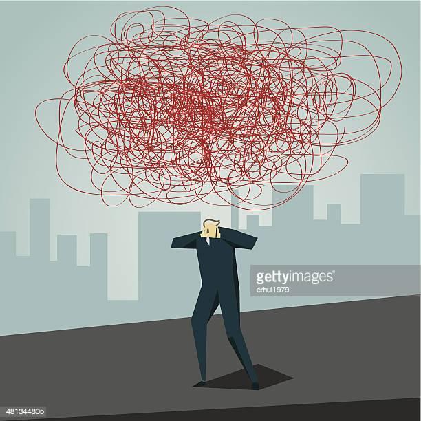 illustrations, cliparts, dessins animés et icônes de mal de tête - stress
