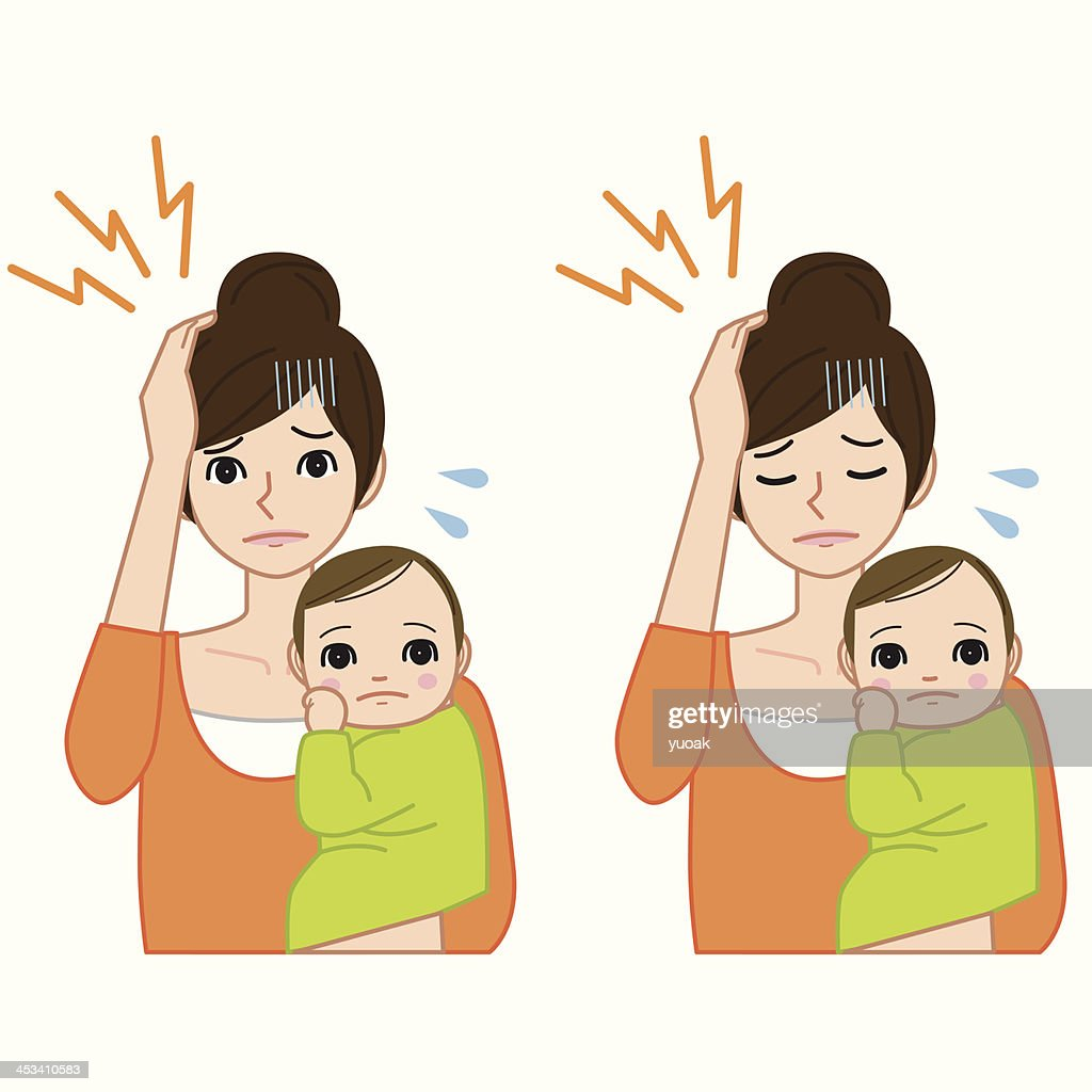 Headache woman with baby : stock illustration
