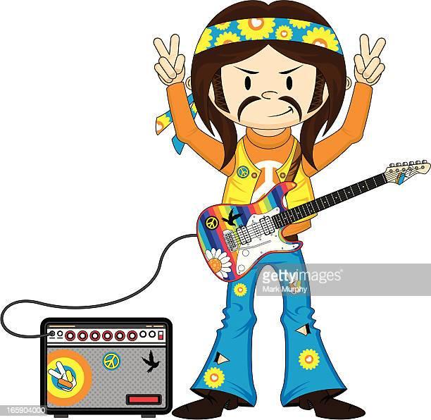 Headband Hippie Boy with Guitar & Amp