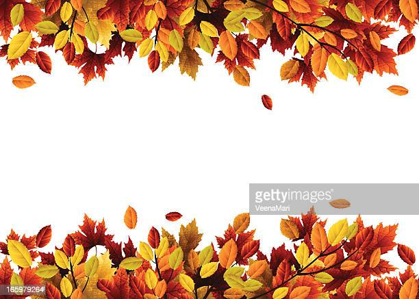 Header and footer made of autumn leaves