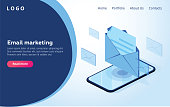 Header for website. Homepage. Concept of mobile email notification. Communication, distribution of information