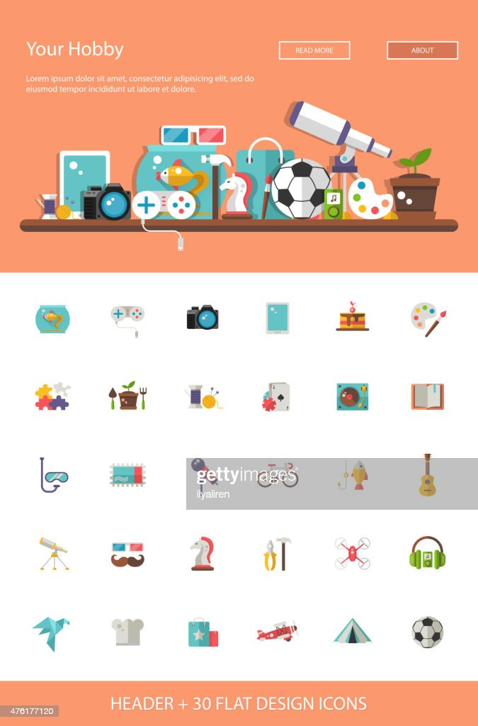Header with modern flat design hobby icons and infographics elem