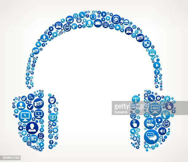 headhphones  computer tech support - security scanner stock illustrations