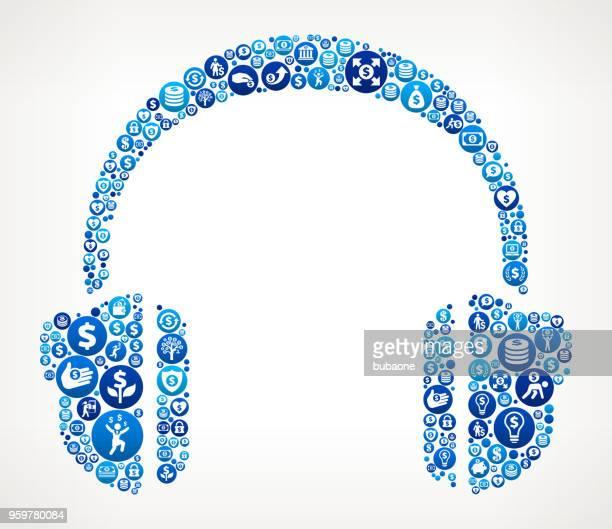 Headhphones  Money Blue Icon Pattern Background