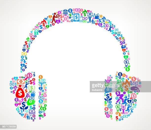 Headhphones  Money Vector Icon Pattern