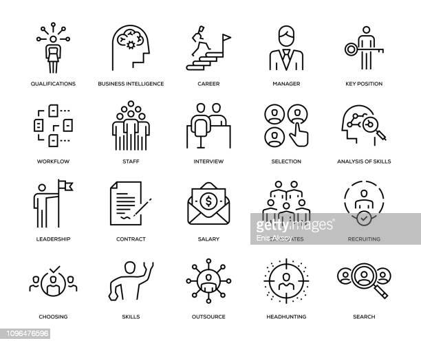 headhunting and recruiting icon set - choice stock illustrations