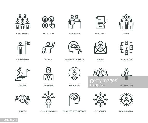 headhunting and recruiting icons - line series - picking stock illustrations