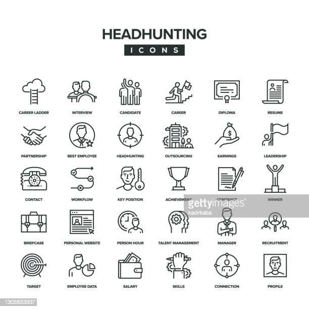 headhunting line icon set - umschulung stock-grafiken, -clipart, -cartoons und -symbole