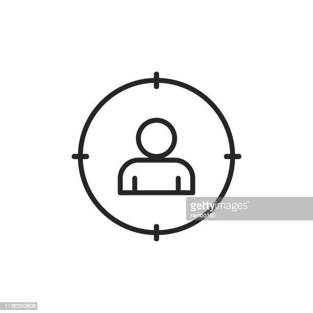 illustrations, cliparts, dessins animés et icônes de headhunting, icône de ligne de recrutement. contour modifiable. pixel parfait. pour mobile et web. - candidat