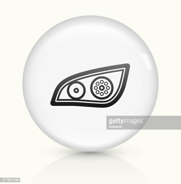 headlights Roller icon on white round vector button