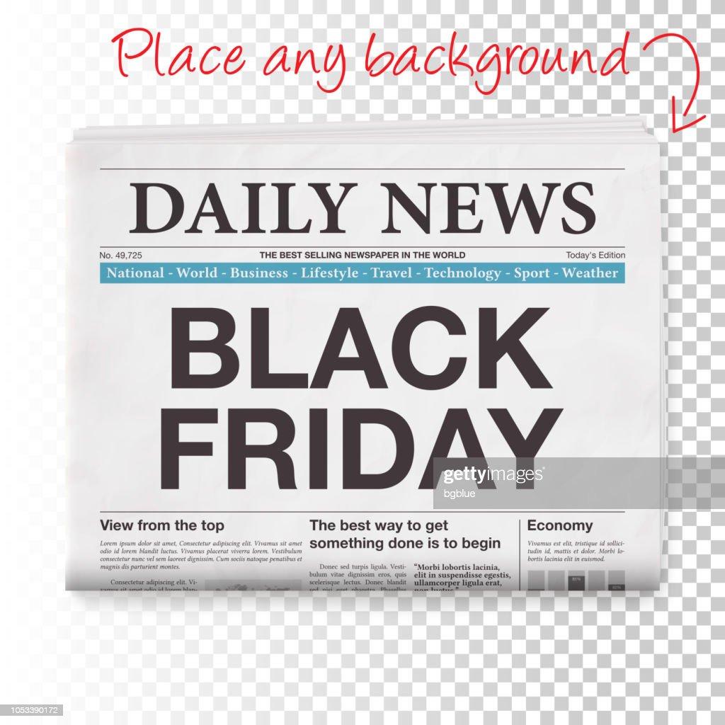 BLACK FRIDAY Headline. Newspaper isolated on Blank Background : stock illustration