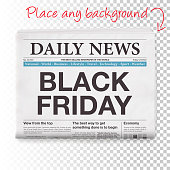 BLACK FRIDAY Headline. Newspaper isolated on Blank Background