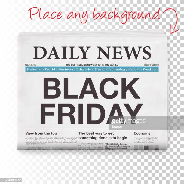 black friday headline. newspaper isolated on blank background - folded stock illustrations