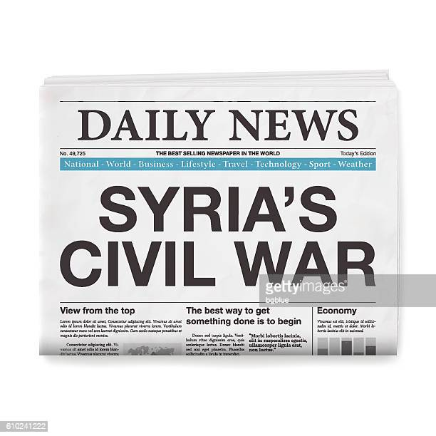 SYRIA'S CIVIL WAR Headline. Newspaper isolated on White Background