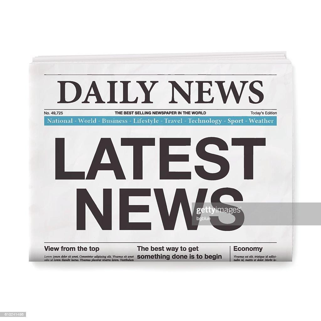 LATEST NEWS Headline. Newspaper isolated on White Background