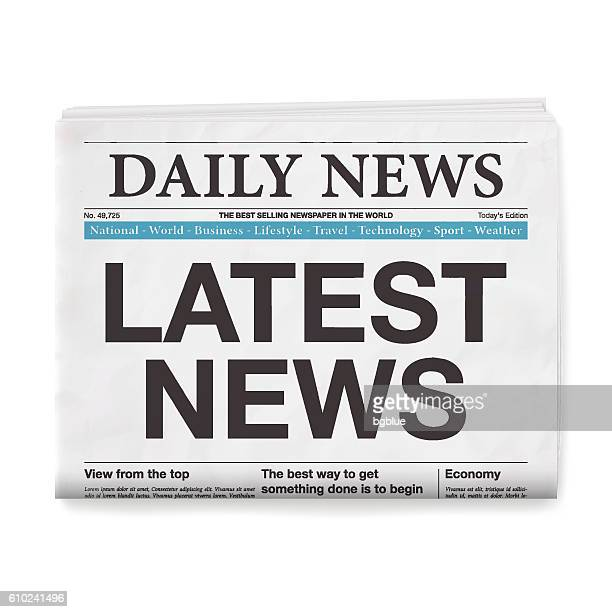 LATEST NEWS Headline. Newspaper isolated on White Background