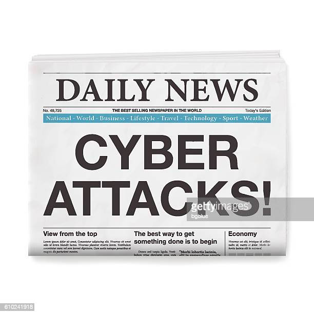 cyber attacks! headline. newspaper isolated on white background - cyborg stock illustrations, clip art, cartoons, & icons