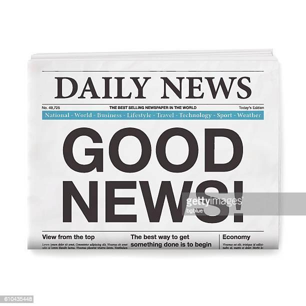 good news! headline. newspaper isolated on white background - good news stock illustrations