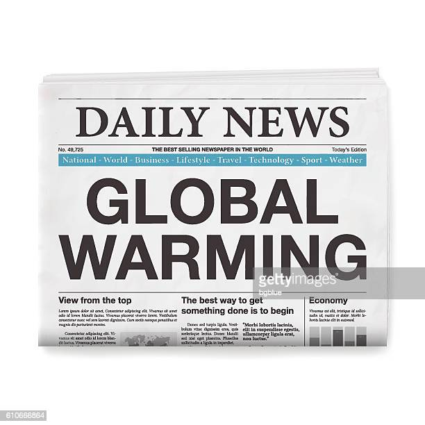 GLOBAL WARMING Headline. Newspaper isolated on White Background