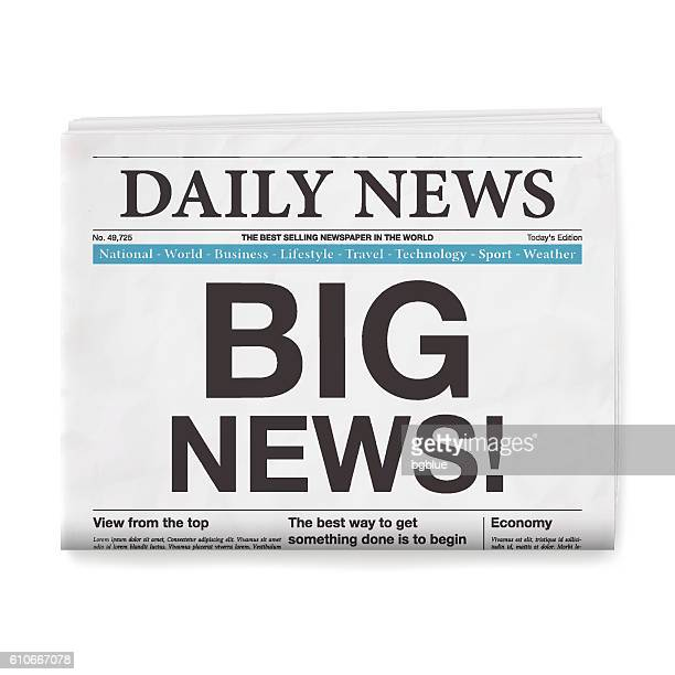 BIG NEWS! Headline. Newspaper isolated on White Background