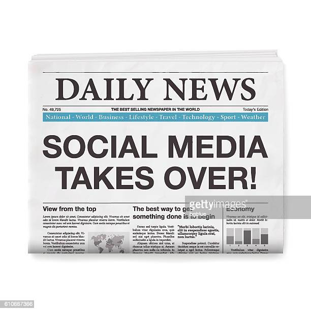 SOCIAL MEDIA TAKES OVER! Headline. Newspaper isolated on White Background