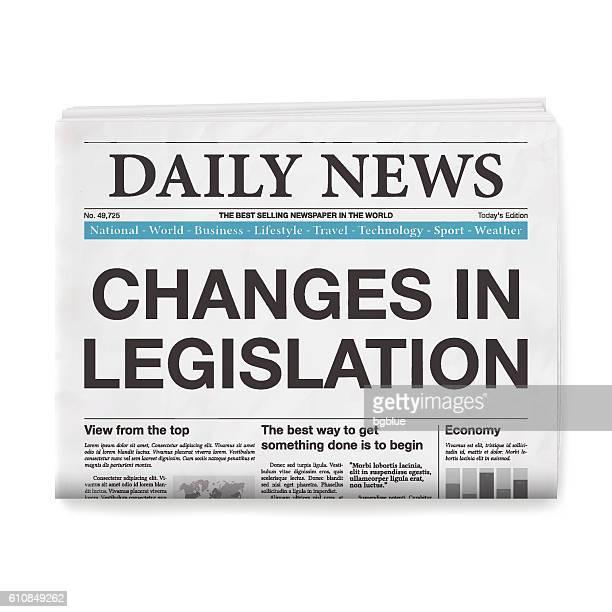 changes in legislation headline. newspaper isolated on white background - legislation stock illustrations