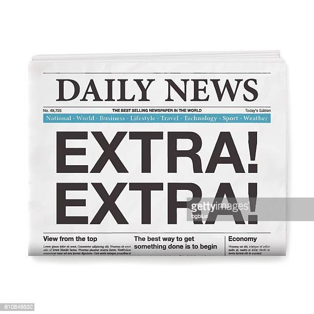 EXTRA! EXTRA! Headline. Newspaper isolated on White Background