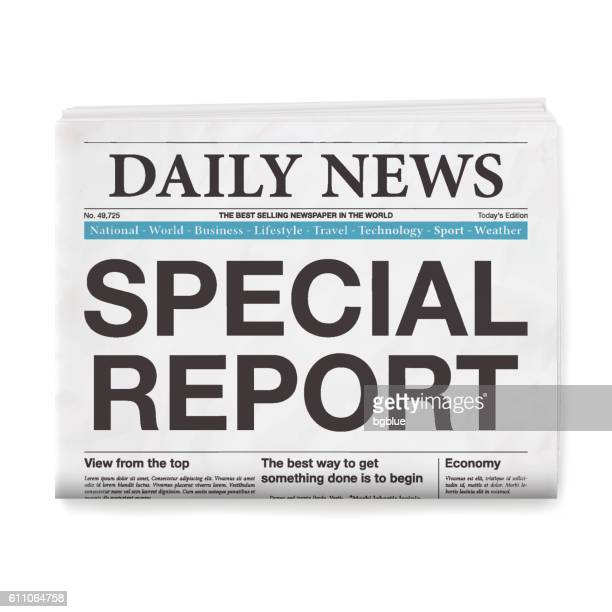 special report headline. newspaper isolated on white background - front page stock illustrations