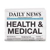 HEALTH & MEDICAL Headline. Newspaper isolated on White Background