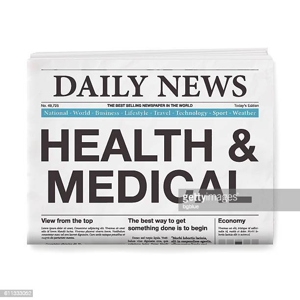 HEALTH & MEDICAL Headline. Newspaper isolated on White Background