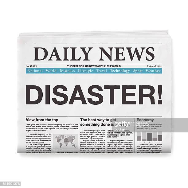 DISASTER! Headline. Newspaper isolated on White Background