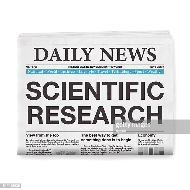 SCIENTIFIC RESEARCH Headline. Newspaper isolated on White Background