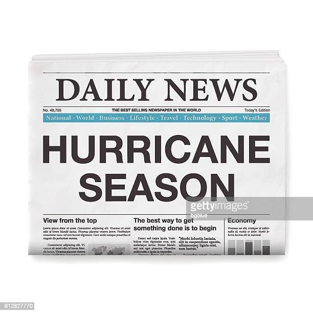 hurricane season headline. newspaper isolated on white background - front page stock illustrations