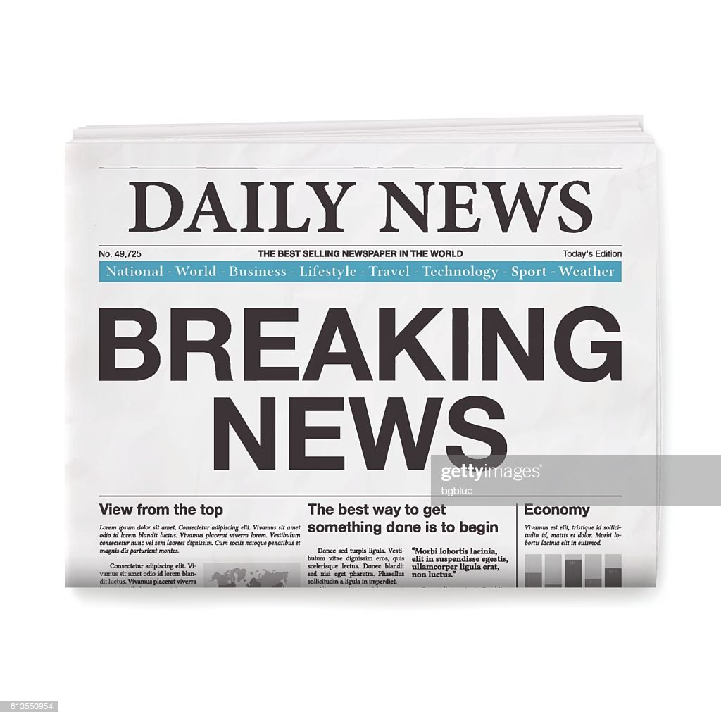 BREAKING NEWS Headline. Newspaper isolated on White Background