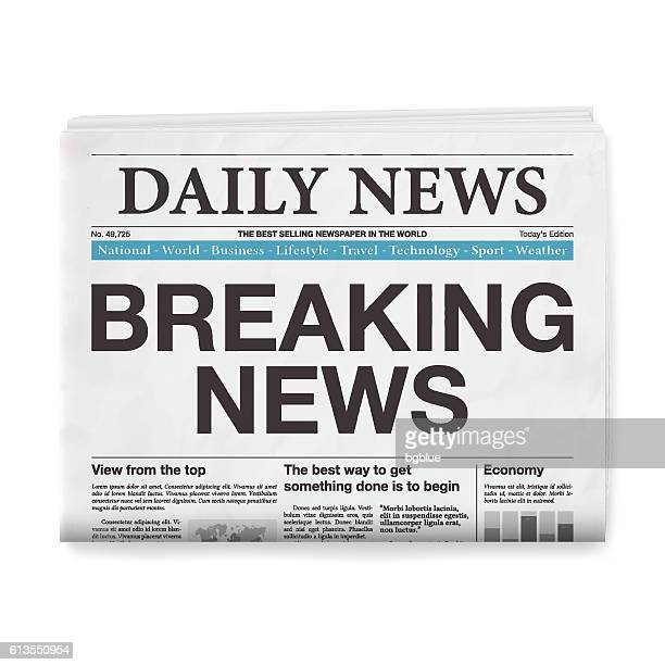 breaking news headline. newspaper isolated on white background - broken stock illustrations, clip art, cartoons, & icons