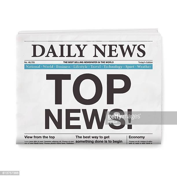 top news! headline. newspaper isolated on white background - front page stock illustrations