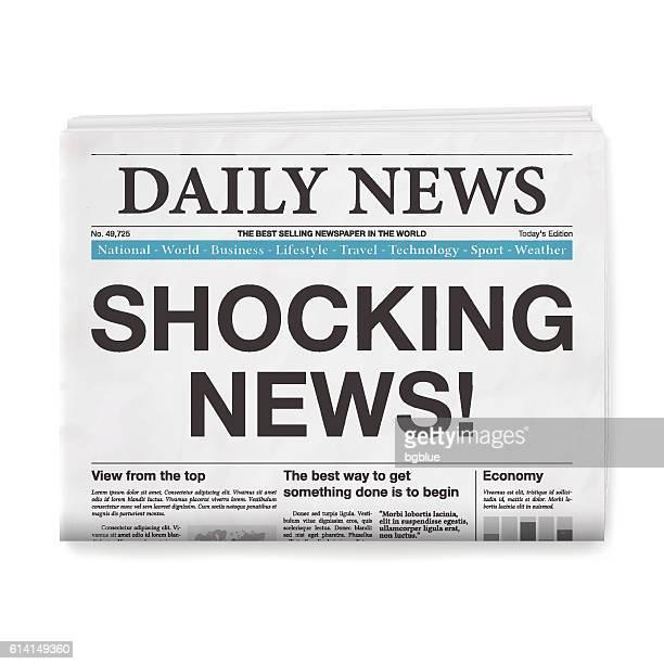 SHOCKING NEWS! Headline. Newspaper isolated on White Background