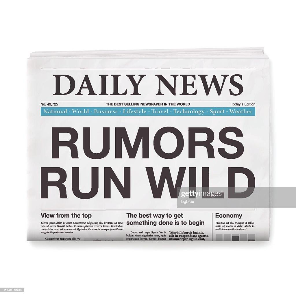 RUMORS RUN WILD Headline. Newspaper isolated on White Background : Vector Art